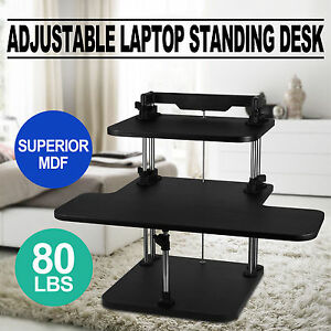 3 Tier Adjustable Standing Desk Laptop Computer Stand Up Superior Mdf Sit stand