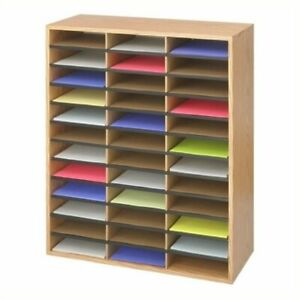 Bowery Hill Corrugated 36 Compartment Literature Organizer In Oak