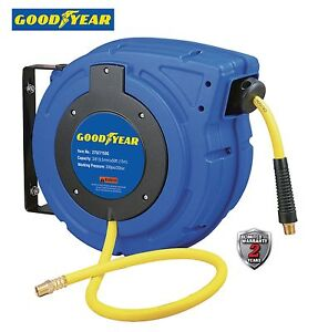 Goodyear Enclosed Retractable Air water Hose Reel 3 8 50 Ft 300psi Autorewind