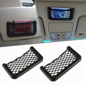2x Elastic Phone Holder Storage In Car Seat Side Back Net Bag Pocket Organizer