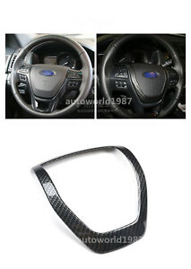For Ford Explorer 2013 2016 Abs Carbon Fiber Style Steering Wheel Cover Trim