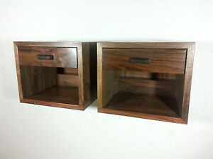 Custom Pair Of Floating Nightstands In Walnut Mid Century Style