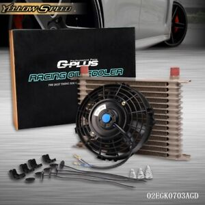 Universal 15 Row Engine Transmission 10an Oil Cooler 7 Electric Fan Kit