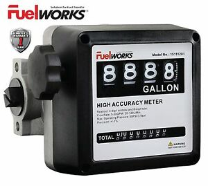 Fuelworks 1 Mechanical Fuel Meter For All Fuel Transfer Pumps Color Black