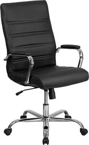 High back Black Leather Conference Room Swivel Chair With Chrome Arms