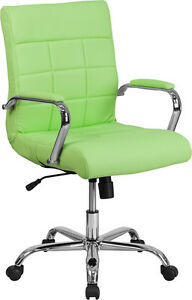Mid back Green Vinyl Conference Room Swivel Chair With Chrome Arms