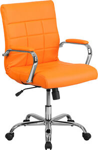 Mid back Orange Vinyl Conference Room Swivel Chair With Chrome Arms