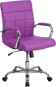 Mid back Purple Vinyl Conference Room Swivel Chair With Chrome Arms