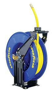 Goodyear Steel Retractable Air water Hose Reel With 3 8 X 50 Ft Rubber Hose