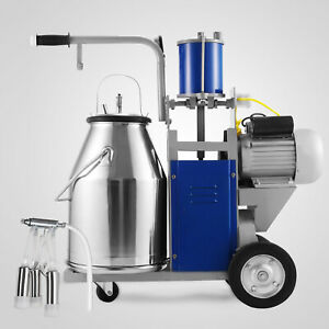 Electric Milking Machine For Farm Cows 25l Bucket 304stainless Steel Vacuum Pump
