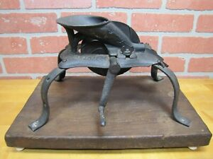 Antique 1800 S Cast Iron Cherry Stone Pitter Mounted On Wood Board Farm Kitchen