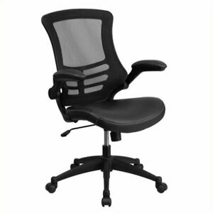 Scranton Co Mid back Mesh Office Chair With Leather Seat In Black
