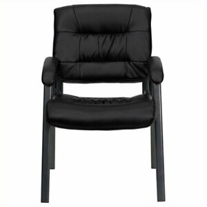 Scranton Co Leather Guest Chair With Titanium Frame In Black