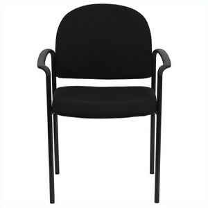 Flash Furniture Stackable Side Guest Chair In Black With Arms