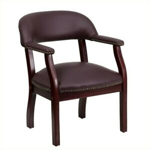 Flash Furniture Leather Conference Guest Chair In Burgundy