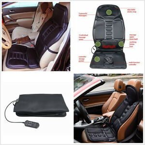 Black Car Seat Back Massage Chair home Heated Seat Cushion Neck Pain Massager
