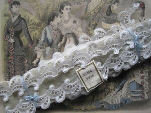 Vintage French White Organza And Cotton Lace Trim 1 Yard