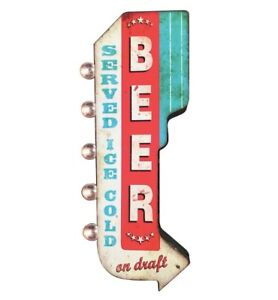 Beer Ice Cold On Draft Double Sided Metal Sign W Led Lights Craft Bar Man Cave