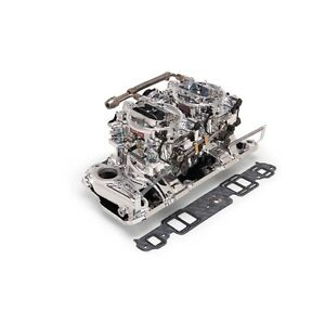 Edelbrock 20254 Carb Manfld Combo Dual Quads For For 1957 86 Sb Chevy