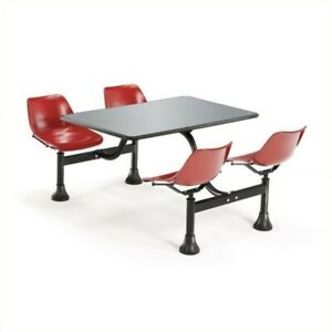 Ofm Outdoor Table 24 X 48 And 4 Chairs In Red
