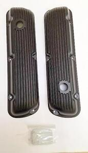 Small Block Ford Sbf 289 302 351w 5 0 Finned Aluminum Black Valve Covers Mustang