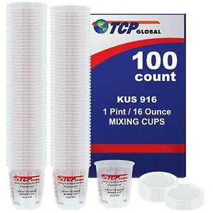16 ounce 1 Pint Paint Epoxy Mixing Cup Calibrated Ratios 100 Cups 12 Lids