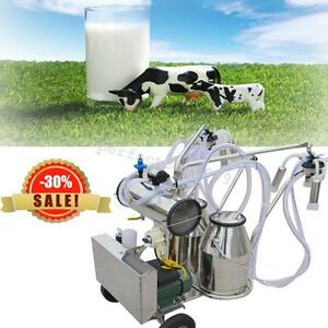 Portable Double Buckets Milking Machine Electric Vacuum Pump Cows Farm Ce Great