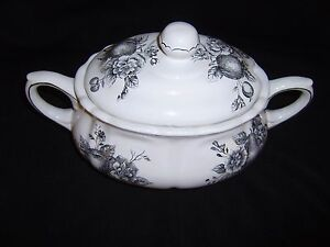 Maxcera Corp Large Soup Tureen In Black And White Mint