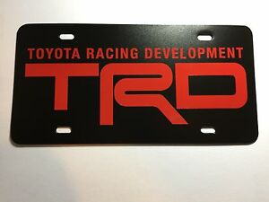 Trd Toyota Racing Development Plastic License Plate Tag Vanity Red
