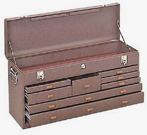 8 Drawer Journeyman Machinist Chest Brown Wrinkle Top Tool Box Kennedy 526b