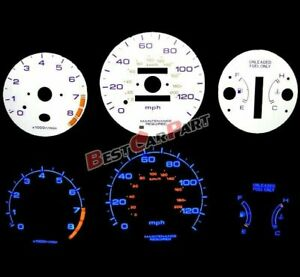 White 96 00 Civic At W Tach Rpm Blue Indiglo Reverse Glow Gauges