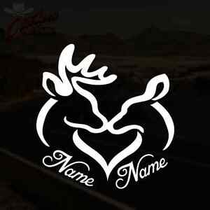 Personalized Deer Heart Decal Doe Buck Hunting Vinyl Sticker Pick Size