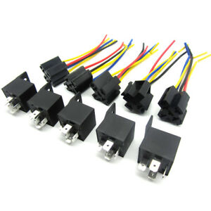 5pcs Dc 12v Car Spdt Automotive Relay 5 Pin 5 Wires W harness Socket 30 40 Amp