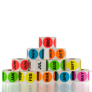 Month Of The Year 1 5 Circle Labels Lv date 12 Rolls