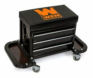 Mechanics Work Stool Garage Seat Creeper Shop Rolling Toolbox Glider Storage