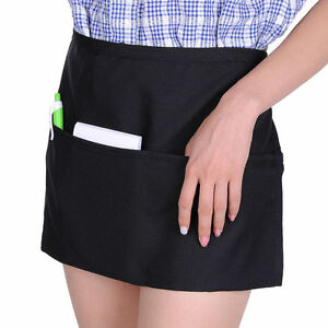 30 Black Unisex Waiter Waist Half Short Apron Restaurant Home 22 x12 3 Pocket
