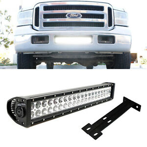 120w 20 Led Light Bar W Lower Bumper Bracket Wirings For 99 07 Ford F250 F350