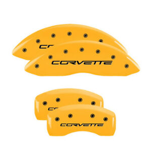 Mgp 13008scv6yl Set Of 4 Yellow Caliper Covers For Corvette With Corvette Text