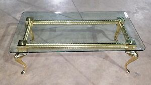 Hollywood Regency Solid Brass And Glass Cabriole Leg Coffee Table Will Ship