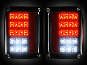 Recon 264234bk Set Of Smoked Lens Led Tail Lights For Jeep Wrangler Jk