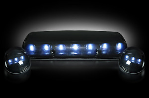 Recon Smoked Cab Light Lens Kit W White Led For 02 07 Chevy Gmc Silverado Sierra
