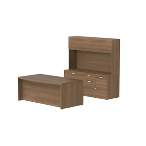 Free Standing Bow Front Desk With Hutch In Park Walnut Finish