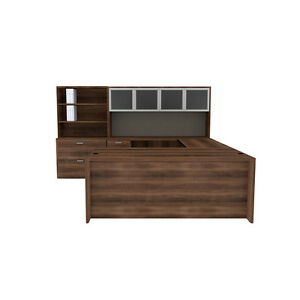 U Shape Desk Set With Hutch Bookcase Lateral File Combo In Park Walnut Finish