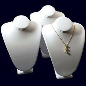 3 White Leather Jewelry Display Necklace Busts 7 1 2