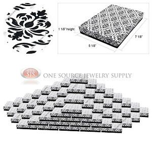 100 Damask Print Gift Jewelry Cotton Filled Boxes 7 1 8 X 5 1 8 X 1 1 8
