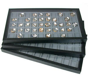3 Acrylic Top Storage Jewelry Display Cases W 50 Compartment Gray Inserts