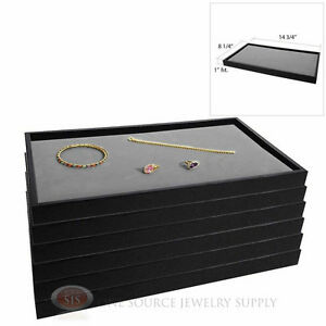 6 Black Plastic Stackable Trays W Gray Velvet Pad Display Jewelry Inserts