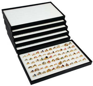 6 Wood Sample Display Trays With 72 Slot White Foam Ring Pads Travel Shows
