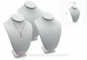 3 11 Pendant Necklace White Leather Neck Form Jewelry Presentation Displays