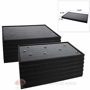 12 Black Plastic Stackable Trays W Gray 72 Ring Display Jewelry Inserts